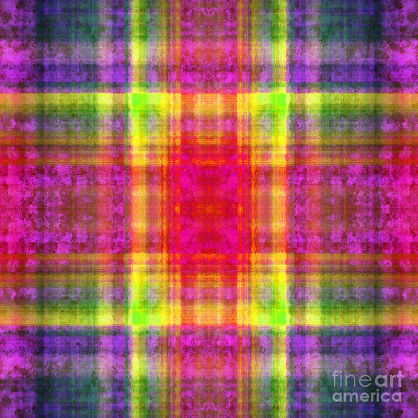 Digital Art - Plaid In Rainbow 2 Square by Andee Design
