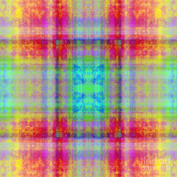 Digital Art - Plaid In Rainbow 3 Square by Andee Design