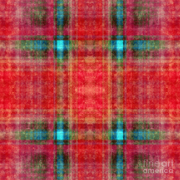 Digital Art - Plaid In Red Square by Andee Design