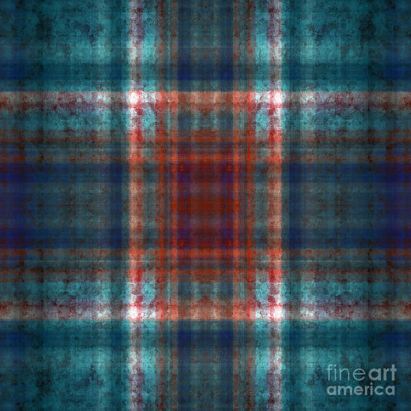 Digital Art - Plaid In Teal 2 Square by Andee Design