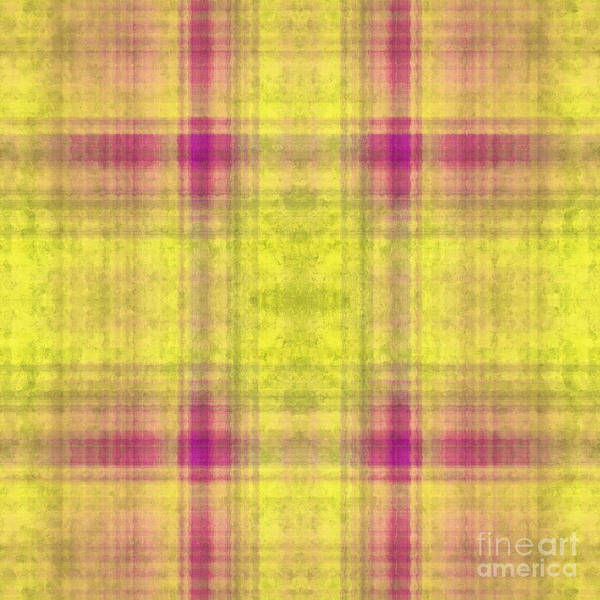 Digital Art - Plaid In Yellow 2 Square by Andee Design
