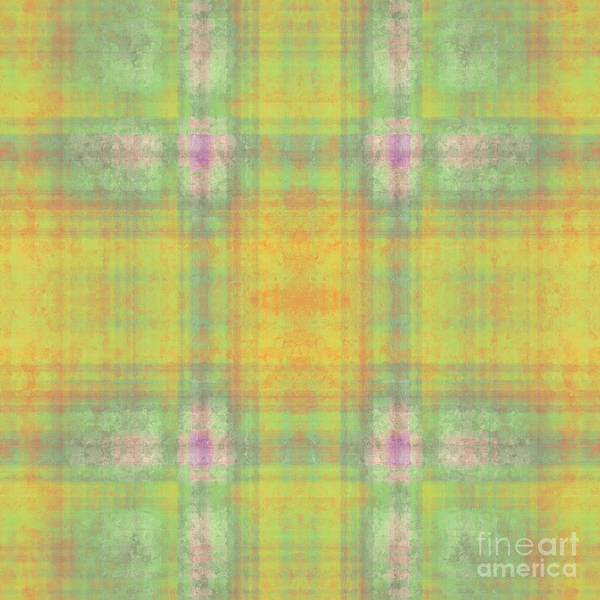 Digital Art - Plaid In Yellow 5 Square by Andee Design