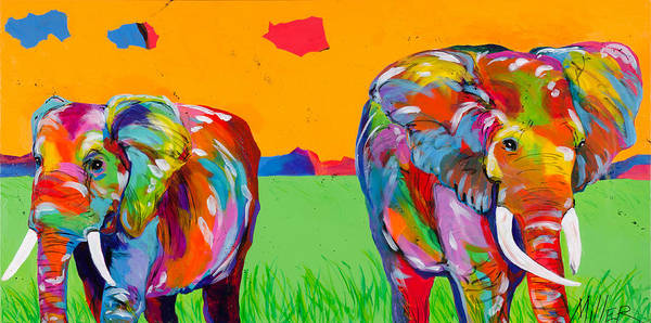 Colorado Wildlife Wall Art - Painting - Plains Elephants by Tracy Miller