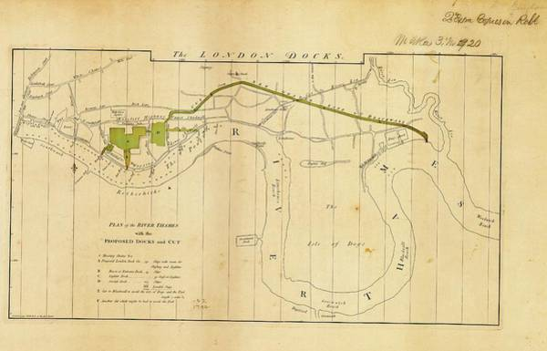 Hermitage Photograph - Plan For London Docks by American Philosophical Society