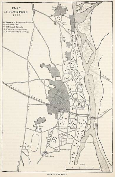 India Drawing - Plan Of Cawnpore, 1857 by English School