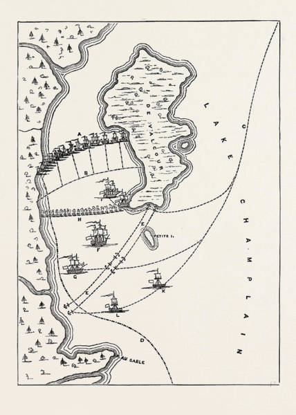Wall Art - Drawing - Plan Of The Defeat Of The American Fleet, Under Benedict by English School