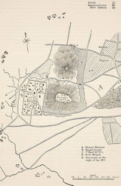 Territory Painting - Plan Of The Defence Of Seetabuldee Hill by English School