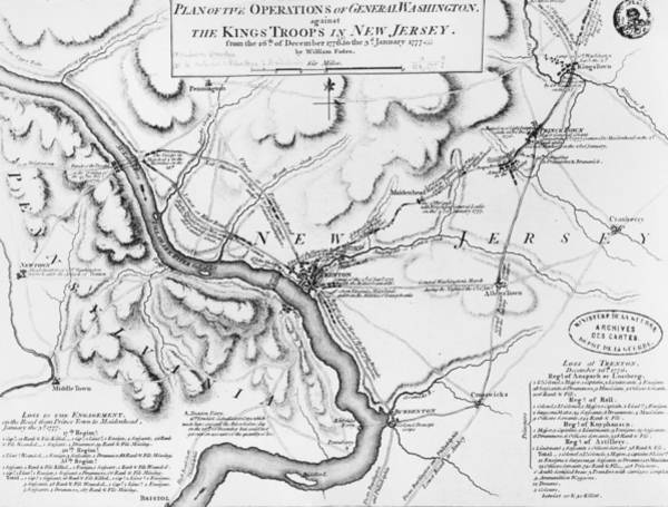 William Drawing - Plan Of The Operations Of General Washington Against The Kings Troops In New Jersey by William Faden