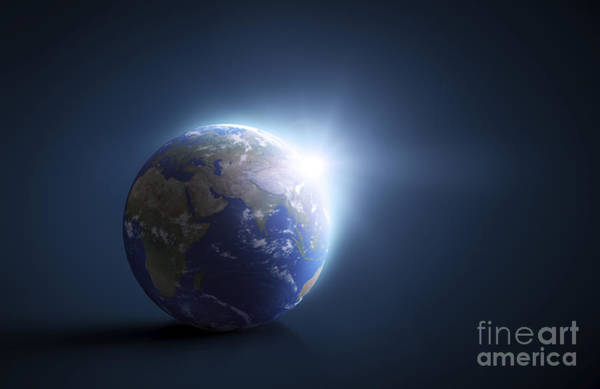 Digital Art - Planet Earth And Sunlight On A Dark by Evgeny Kuklev