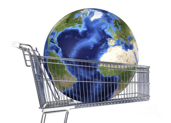 Digital Art - Planet Earth Inside Supermarket Trolley by Leonello Calvetti