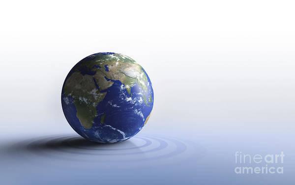Digital Art - Planet Earth On A Blue Floor by Evgeny Kuklev