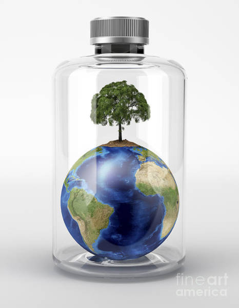 Mother Earth Digital Art - Planet Earth With A Tree On Top by Leonello Calvetti