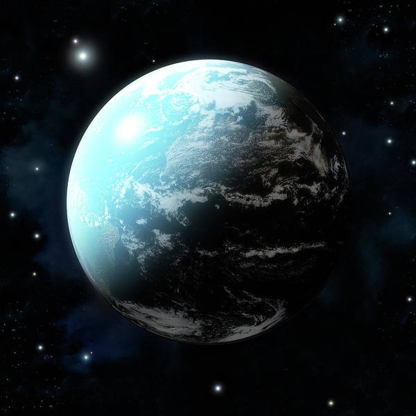 Square Digital Art - Planet Earth With Stars All Around by Maciej Frolow