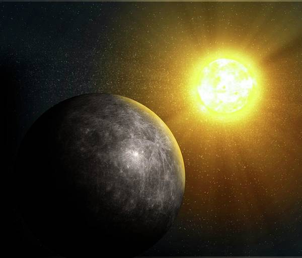 Dark Shadows Digital Art - Planet Mercury, Artwork by Science Photo Library - Andrzej Wojcicki