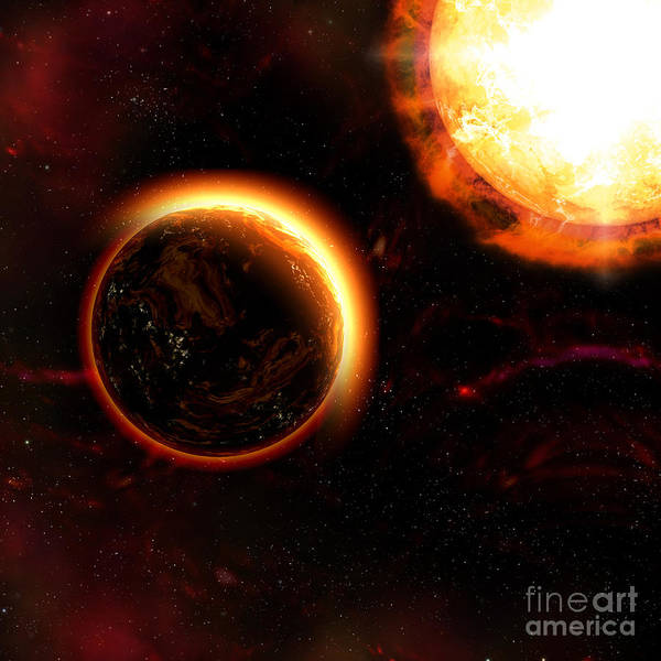 Digital Art - Planet Sun Rise With Sun by Elle Arden Walby
