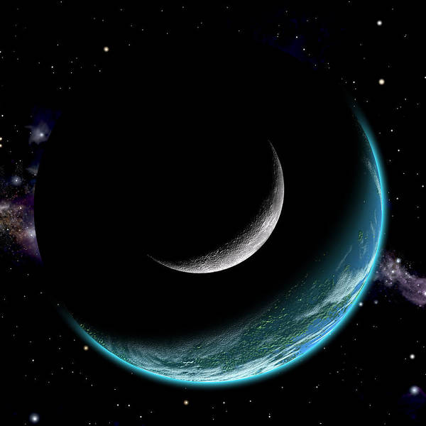 Planet With Moon Art Print