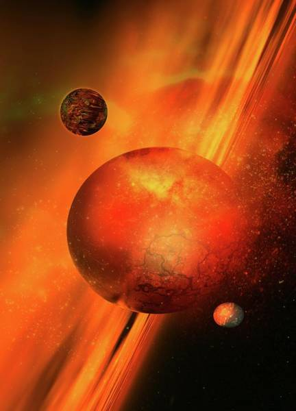 Space Exploration Digital Art - Planetary Formation, Artwork by Victor Habbick Visions