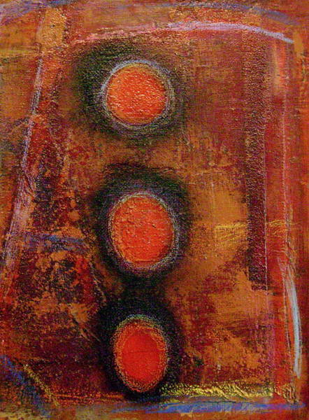 Recycled Materials Painting - Planets Aligned by Gerry High