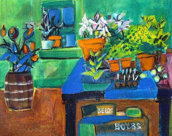 Thumb Painting - Plants In Potting Shed by Betty Pieper