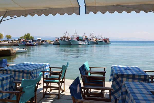 Grecian Photograph - Platanias, Thessaly, Greece. Tables by Panoramic Images