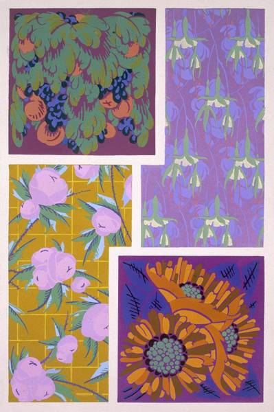Floral Design Drawing - Plate 11, From Forms And Colours, C.1930 by Auguste H. Thomas