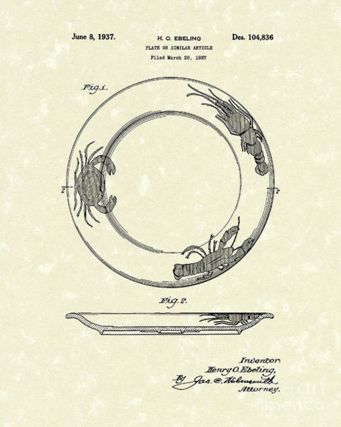 Drawing - Plate 1937 Patent Art by Prior Art Design