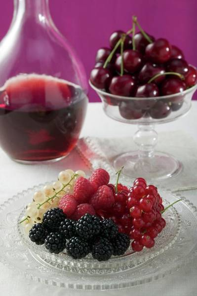 Wall Art - Photograph - Plate Of Berries, Cherries In Stemmed Glass by Eising Studio - Food Photo and Video
