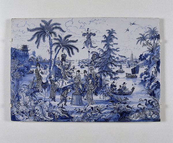 Wall Art - Painting - Plate, Painted With Chinoiserie Decoration by Quint Lox