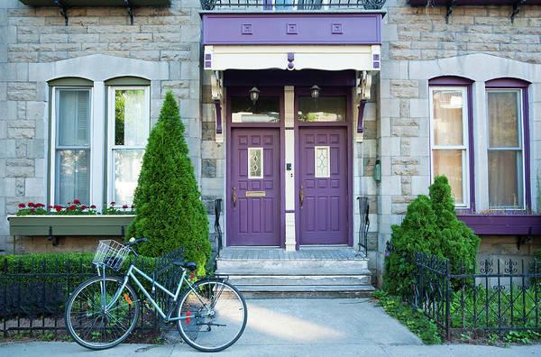 Quebec City Photograph - Plateau Mount Royal Purple Doors by Debralee Wiseberg
