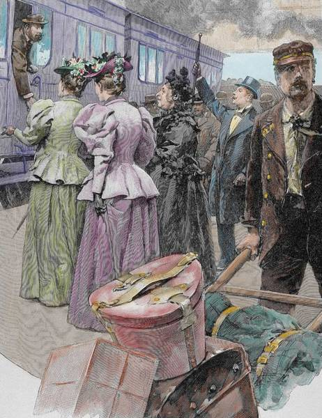 Porter Photograph - Platform At A Railway Station, Late 19th Century Engraving Later Colouration by Ludovico Marchetti