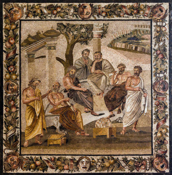 Dialogue Photograph - Platos Academy Mosaic, 1st Century Bc by Science Source