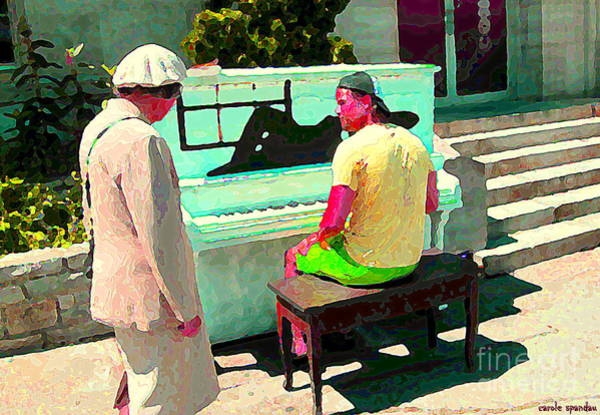 Painting - Play Me A Song Piano Man Play Me A Memory Montreal Street Musicians City Scenes Carole Spandau by Carole Spandau