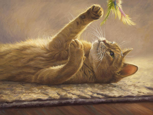 Domestic Cat Wall Art - Painting - Playtime by Lucie Bilodeau
