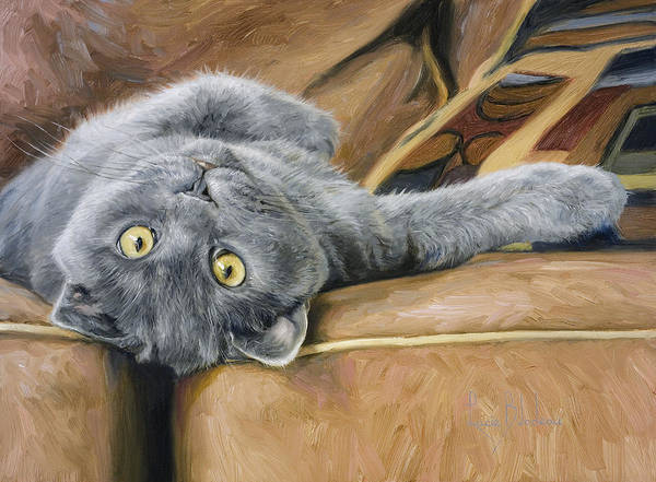 Domestic Cat Wall Art - Painting - Playful by Lucie Bilodeau