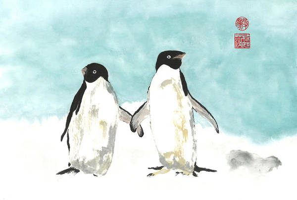 Wall Art - Painting - Playful Penguins  by Terri Harris