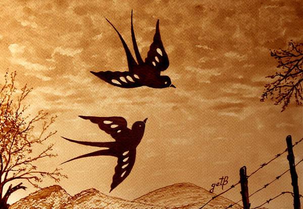 Painting - Playful Swallows Original Coffee Painting by Georgeta  Blanaru