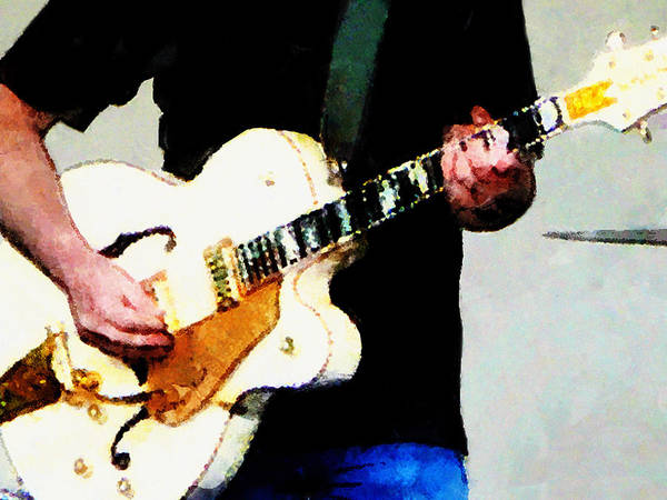 Photograph - Playing A White Guitar by Susan Savad