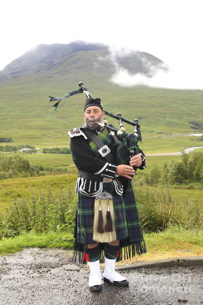 Playing Bagpiper In Highlands Art Print