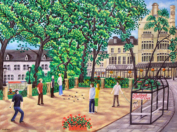 Petanque Wall Art - Painting - Playing Boules At Betty's Cafe- Harrogate by Ronald Haber