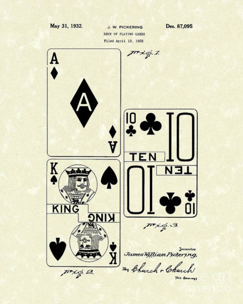 Card Wall Art - Drawing - Playing Cards 1869 Patent Art by Prior Art Design
