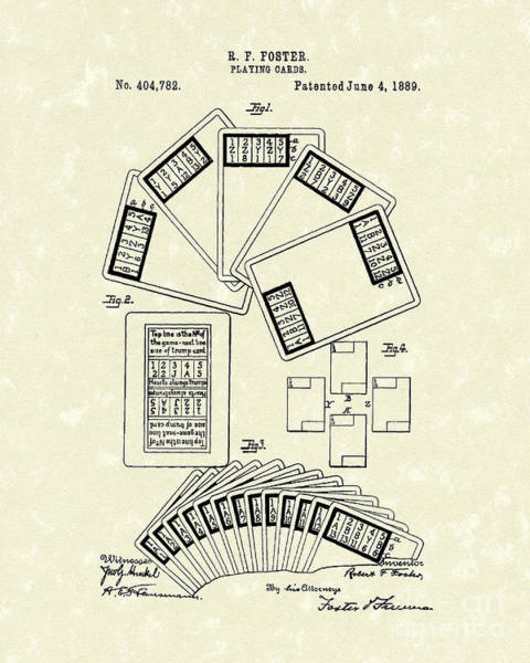 Drawing - Playing Cards 1889 Patent Art by Prior Art Design