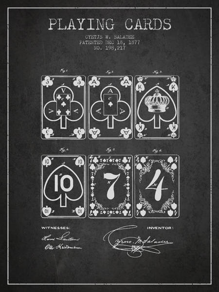 Playing Digital Art - Playing Cards  Patent Drawing From 1877 - Dark by Aged Pixel