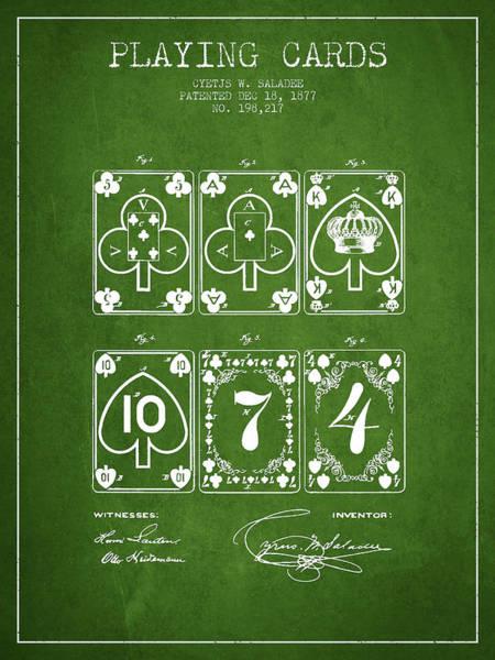 Playing Digital Art - Playing Cards  Patent Drawing From 1877 - Green by Aged Pixel