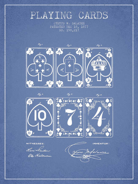 Playing Digital Art - Playing Cards  Patent Drawing From 1877 - Light Blue by Aged Pixel