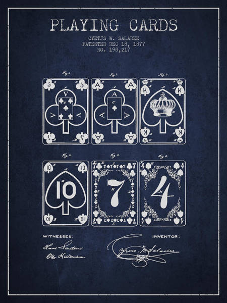 Playing Digital Art - Playing Cards  Patent Drawing From 1877 - Navy Blue by Aged Pixel