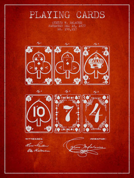 Playing Digital Art - Playing Cards  Patent Drawing From 1877 - Red by Aged Pixel