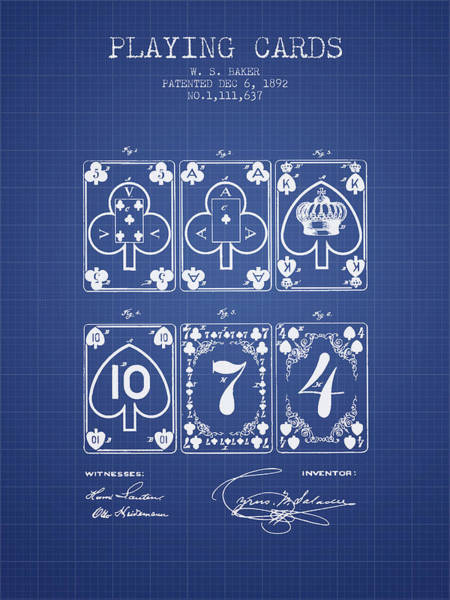 Playing Digital Art - Playing Cards  Patent From 1877 - Blueprint by Aged Pixel