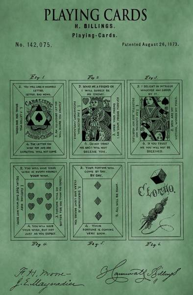 Deck Of Cards Digital Art - Playing Cards Patent Green by Dan Sproul