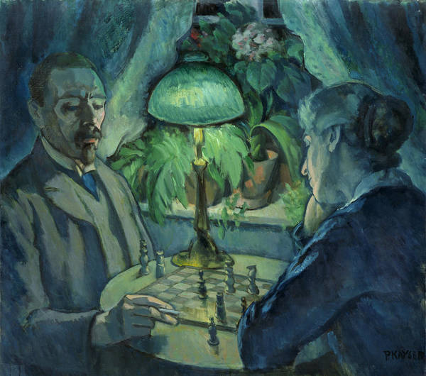 Married Photograph - Playing Chess, 1925 Oil On Canvas by Jean Paul Kayser