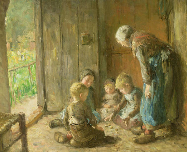 Brothers Painting - Playing Jacks On The Doorstep by Bernardus Johannes Blommers